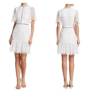 MONIQUE  LHUILLIER Bell Sleeved Embroidered Dress